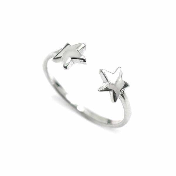 Anillo Two Stars Plata